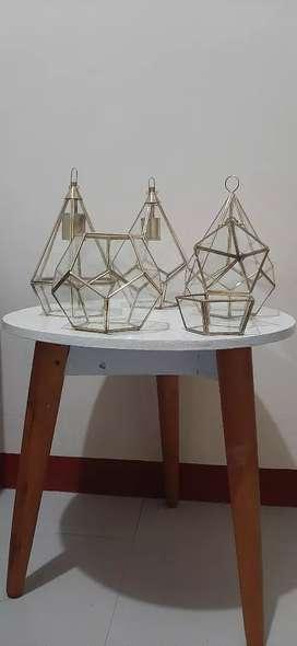 Lampu gantung, ring box, terarium hias & kotak seserahan kaca