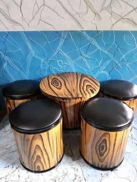 Kursi meja cafe motif kayu full cat di lukis