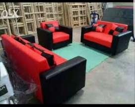 Sofa 321 set hitam-merah minimalis kulit.