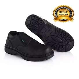 Bisa COD bayar di tempat. Sepatu safety ujung besi kulit asli.