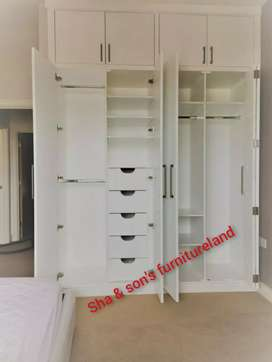 New custom selling touch wooden 4 door wardrobe direct from factory