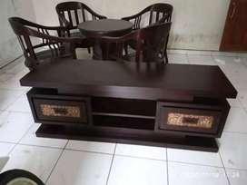 Bufet tv koin warna hitam moderen, P.150cm, bahan kayu jati terbaik