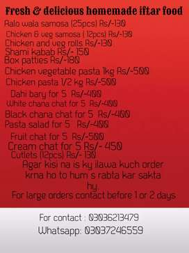 Fresh & tasty homemade iftar meal in low prices