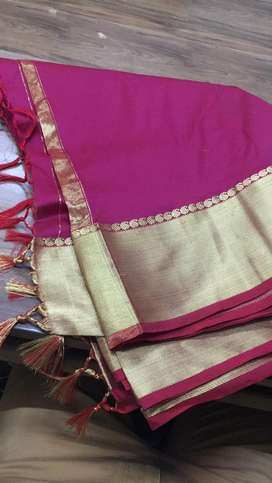 Satin like plain border sarees