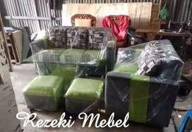 Rezeki Mebel_ 1set sofa minimalis hijau abuabu 3.2+ 2 puff petak