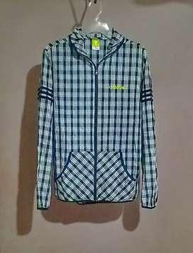 Jaket Adidas Zip Hoodie Motif Tartan Original !
