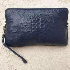 Tas import eks fashion navy clucth/tas tangan kulit asli tebal unik