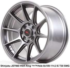 jual velg baru SHINJUKU JD7060 HSR R15X7/8 H8X100-114,3 ET35/30 SMG