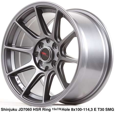 jual velg baru SHINJUKU JD7060 HSR R15X7/8 H8X100-114,3 ET35/30 SMG 0