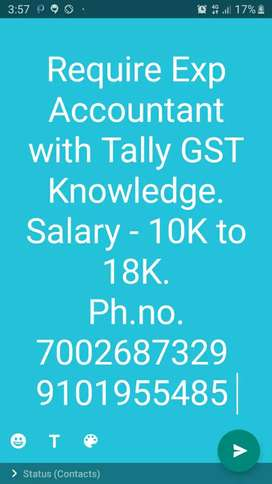 Urgent Requirements - Required Bcom Accountant with Tally GST knowledg