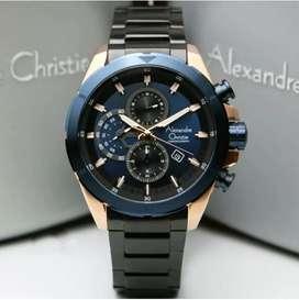 Alexandre Christie Ac6508 Rosegold Blue, Jam Tangan Pria Original