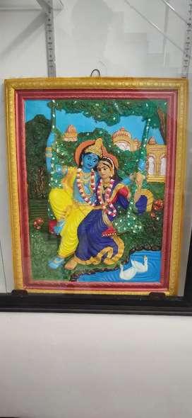 Plaster of paris krishna radha frame