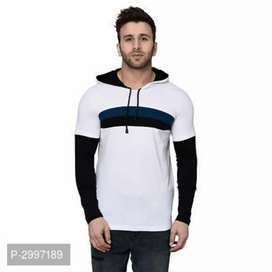 Self Pattern Cotton Blend Hooded Tees