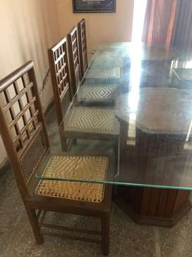 Dining set 8 seater with 8x4 imported Glass table