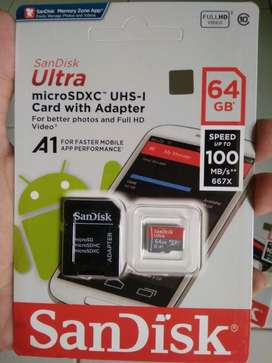 Memory Card Sandisk 64Gb Class 10 up to 100Mbps original