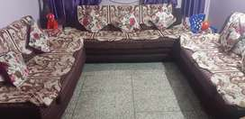 2 years old 7 seater Sofa set (3+2+2) with cushions and cover