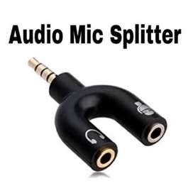 splitter Y untuk output headset dan input mic clip on
