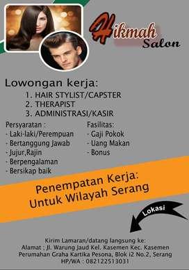 Lowongan Kerja (Hair stylist,Therapist,Adm)