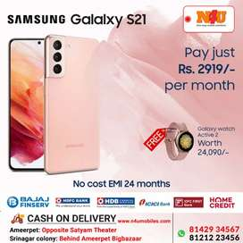 Samsung S21 avl on 24months nocost Emi and smart watch free at N4U