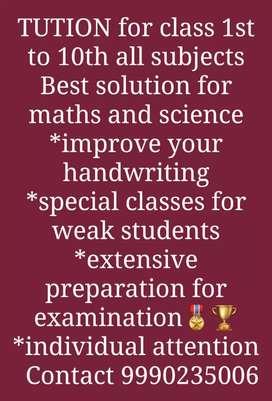 Teacher for class 1to 10th