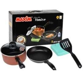 Maxim Venice Set (Panci 17cm+Tutup Kaca+Wajan 20cm+Spatula+Sponge)