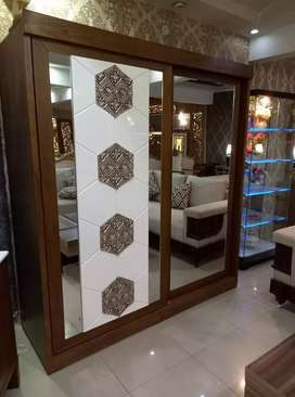 New arrival 2doors sliding wardrobe with pvc panel mirror best quality