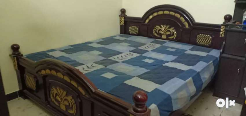 Wooden cot and bed