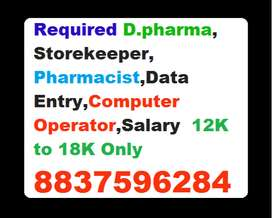 Required Dpharma,Storekeeper, Pharmacist  Data Entry,Computer Operator