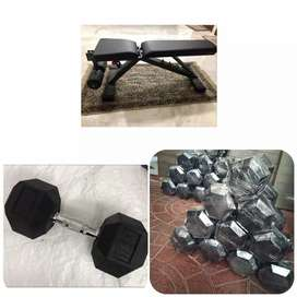 Dumbbells, bench press and gym equipments