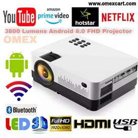 3800LM ANDROID 8.0 SMART PROJECTOR FULL HD 2021 NEW WIFI, BLUETOOTH