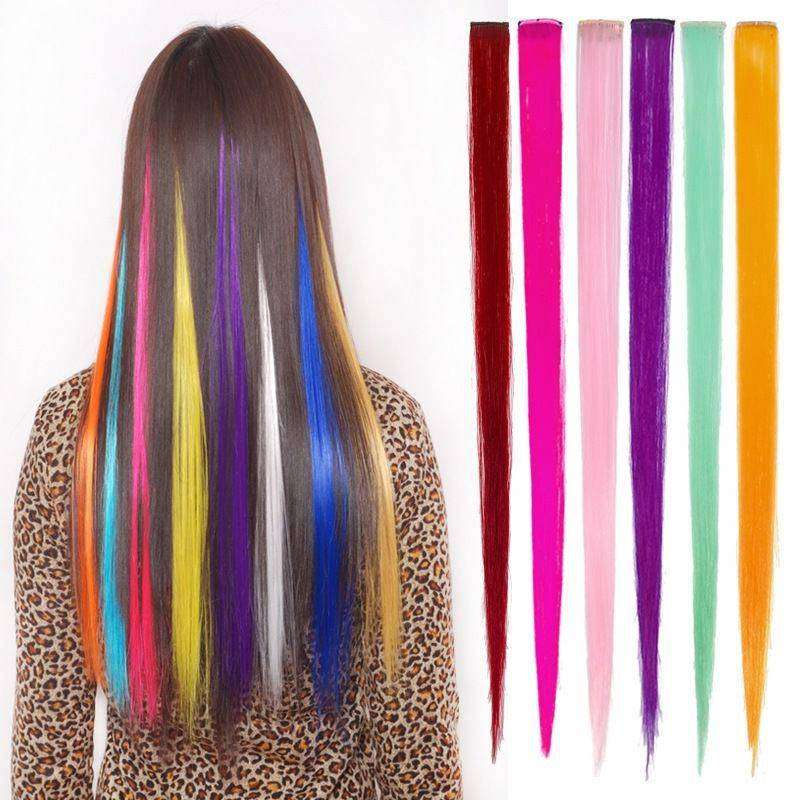 Hair Clip On Extensions - 4 Pcs Streaks Set 0