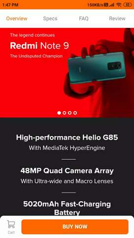 Redmi note9(4/64) flash sail phone blue grey red color seal pack avlb