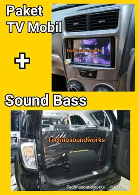 Paket TV mobil double 2 din tape Mp5 + sub woofer power bass bs cicil