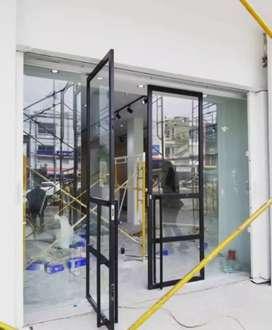 "Pintu kaca kusen alumunium dan partisi kaca ""3843"
