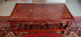 Elegant solid teak hand carved coffee centre table