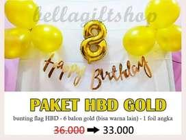 Paket Dekorasi Ulang Tahun LATIN GOLD Anak atau Dewasa