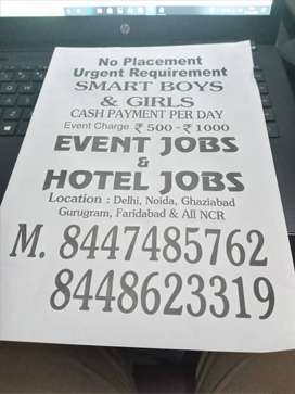 No charges urgent hiring for freshers waiters in event party .