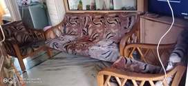 String wood Sofa with 2 chairs