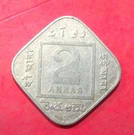 Rare Rare Old Indian Coin 2 Annas.