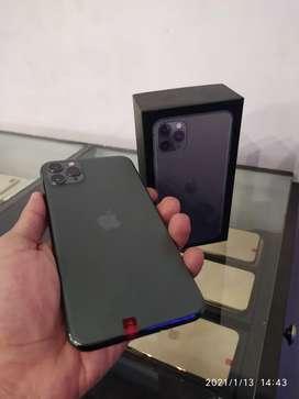 IPHONE 11 PRO MAX 64Gb Warna MIDNIGHT GREEN SECOND LIKE NEW FULLSET