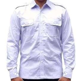 Kemeja PDL/PDH Pangkat saku 2 Putih Polos Lengan Pendek/Panjang