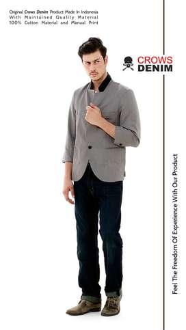 Blazer Cowok, Blazer Casual, Blazer Grey 3/4 Sleeve Korean Style