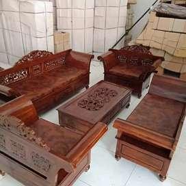 Kursi tamu lengkap tinggal pakai,  bahan 100% kayu jati, ready stok.