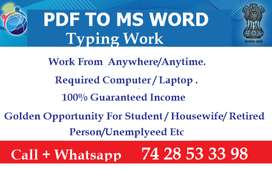 Starting Life With Typing Work From Home Part Time Job Is Available