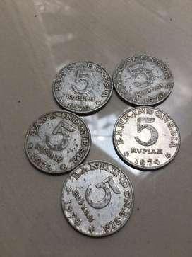 Uang koin 5 rupiah 1970,74