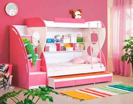 Triple bunk bed white and pink