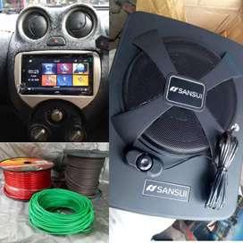Paket Audio Tv+Sub Kolong Jok buat Nissan March