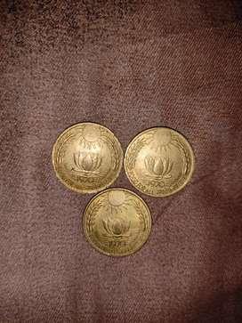 20, 10 paise brass coins (1869-1971)