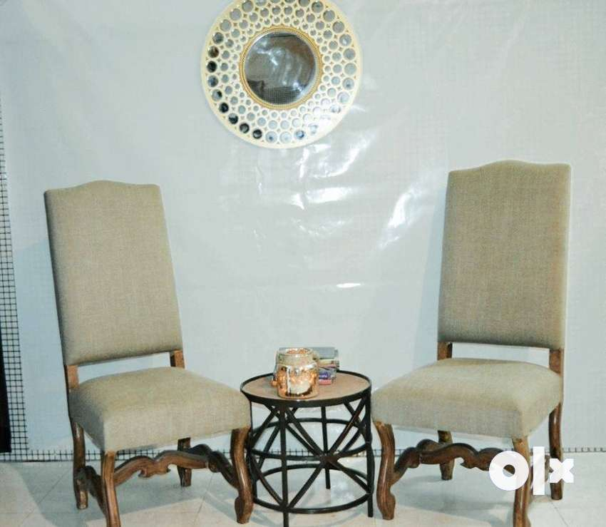 Pair Of Wood Crafted Chairs With Round Coffee Table. 0