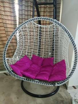2 seater hanging chair ( with stand and cushions)